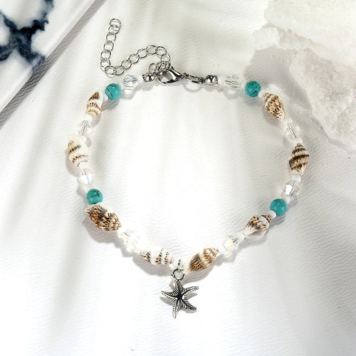 Conch Shell Beaded Starfish Anklet