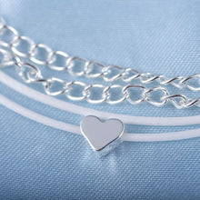 Load image into Gallery viewer, Dual Silver Chain & Cord Heart Pendant Anklet