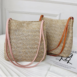 Casual Summer Straw Messenger Bag - Maui Kitten Beachwear