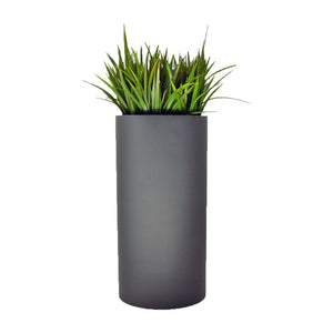 Fibreglass Tall Cylinder Planter with Tall Grass
