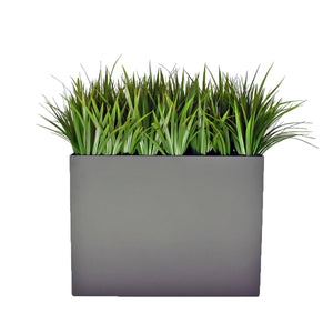 Aluminum Trough Planter with Tall Grass