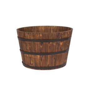 Wood Barrel Planter