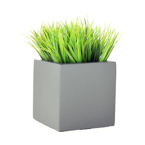 Cube Table Top Planter with Artificial Greenery