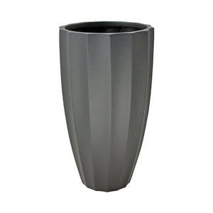 Fibreglass Fluted Planter with Tall Grass