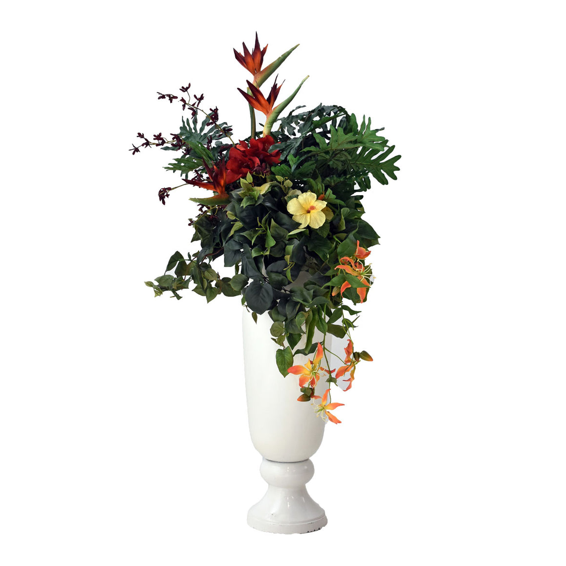 Pre-Made Large Arrangement - Tropical Floral in White Urn