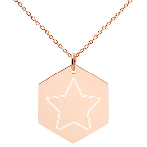Engraved Silver Hexagon Necklace