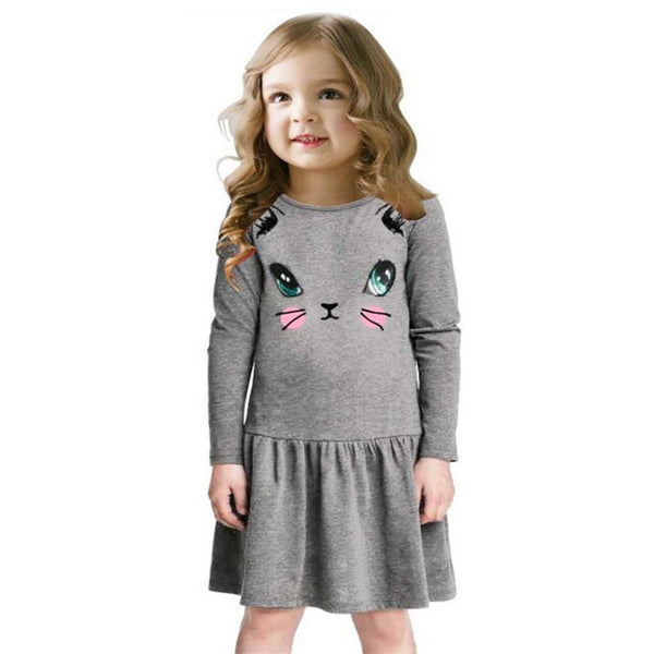 Summer Cat Print Children Long Sleeve Dresses