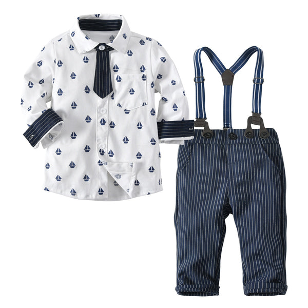Boy Dress Suit Cotton T-shirt Top+Strap Pants