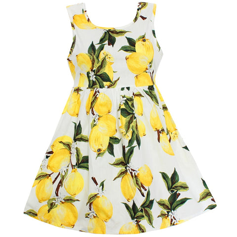 New Girls Dress Hot Lemon Print Cotton Clothes
