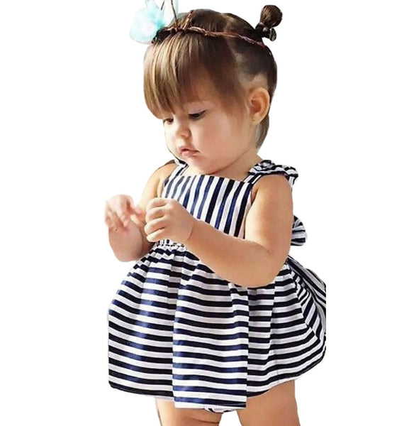 Summer Baby Girls Stripe Suspenders Dress