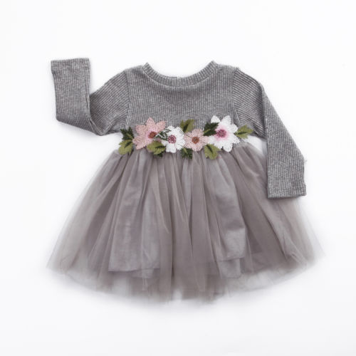1PC Flower Girls Autumn Winter Knitted Dress