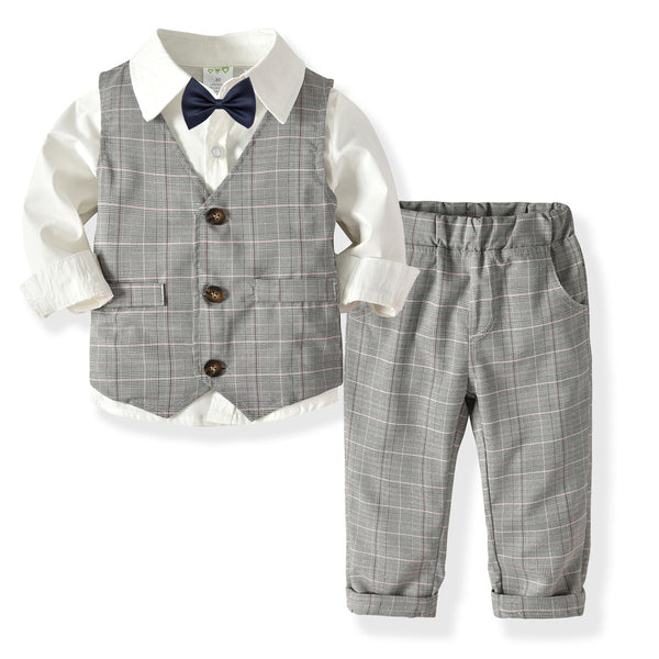 4Pcs Formal Spring Blazers Suit for Boys