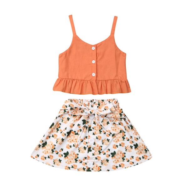 Girls Clothing Sets Sleeveless Floral Sling Tops+Skirt