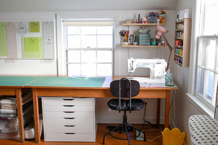 Happy Friday! Last week I put a call out on Instagram (I'm @jenib320) to hear what kinds of struggles folks have with sewing space organization