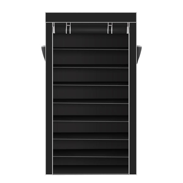 10 Tiers Shoe Rack with Dustproof Cover Closet Shoe Storage Cabinet Organizer Black