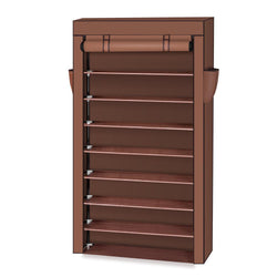 10 Tiers Shoe Rack with Dustproof Cover Closet Shoe Storage Cabinet Organizer Mocha