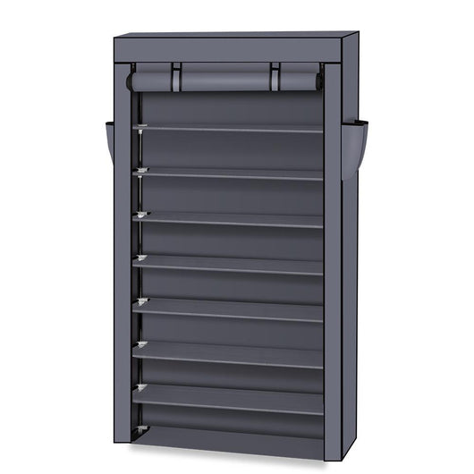 10 Tiers Shoe Rack with Dustproof Cover Closet Shoe Storage Cabinet Organizer Gray