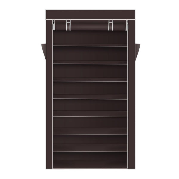 10 Tiers Shoe Rack with Dustproof Cover Closet Shoe Storage Cabinet Organizer Dark Brown