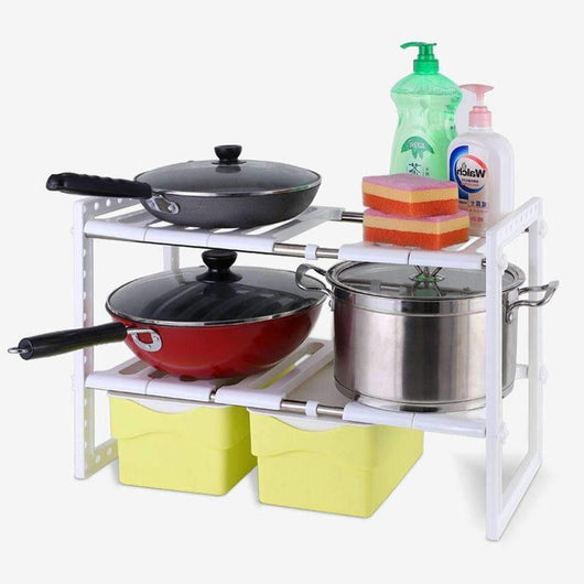 2 Tier Adjustable Under Kitchen Sink Shelf Under Cabinet Organizer Free Expansion