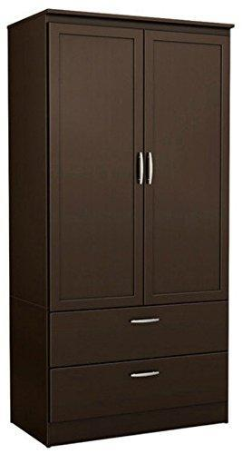 On amazon contemporary wardrobe armoire wood with framed doors and streamlined drawers features three storage spaces two adjustable shelves nickel finish metal handles chocolate
