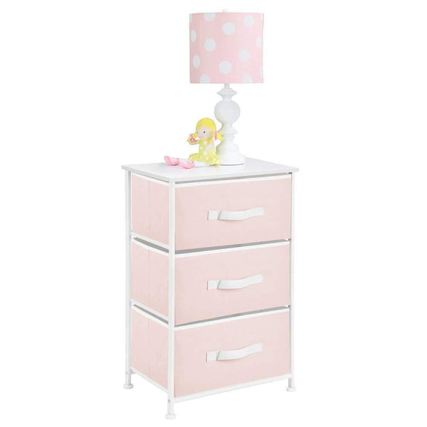 Get mdesign 3 drawer vertical dresser storage tower sturdy steel frame wood top and easy pull fabric bins multi bin organizer unit for child kids bedroom or nursery light pink white