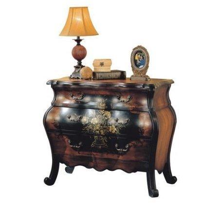 Related major q 9009205 34 h painted floral design traditional style 3 drawer storage bombay chest in antique black and oak finish