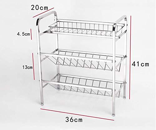 Spice Rack Organizer, Fresh Household 3 Tier Spice Jars Bottle Stand Holder Stainless Steel Kitchen Organizer Storage Kitchen Shelves Rack - Silver