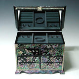 Discover the best mother of pearl girls asian lacquer wooden black jewelry trinket keepsake treasure gift jewel ring drawer box chest case holder organizer with flower and bird design