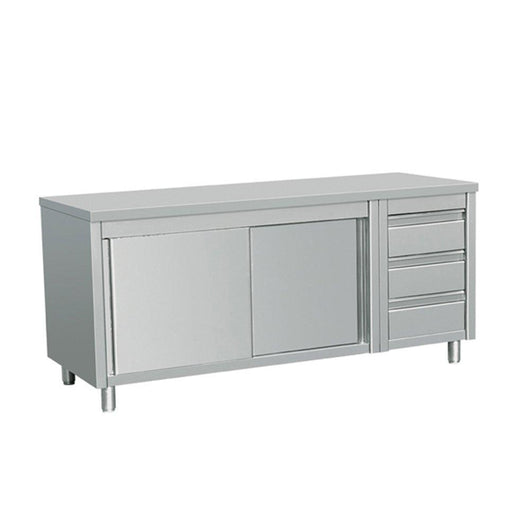 Try eq kitchen line stainless steel commercial prep work table sliding door storage cabinet and 3 drawers on right 64l x 28w x 38h