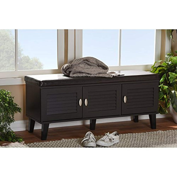 Baxton 3 Door Wood Cushioned Bench