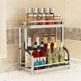 Spice Rack Organizer, Fresh Household 2 Tier Spice Jars Bottle Stand Holder Stainless Steel Kitchen Organizer Storage Kitchen Shelves Rack