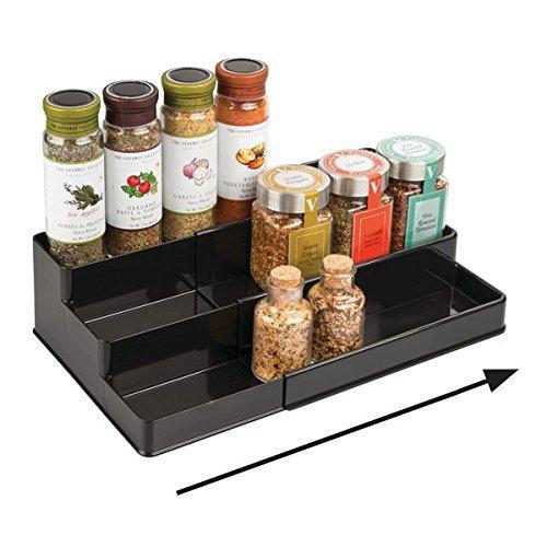 3-Tier Expandable Spice Rack Cabinet Organizer for Kitchen - Black