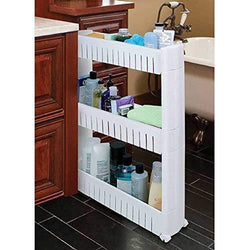 Slim Storage Food Cleaning Supplies Pantry Cabinet Organizer Slide Out Cart Rack with Wheels for Narrow Spaces in Kitchen Garage Laundry Apartments Bathroom Closets (3 Tier)