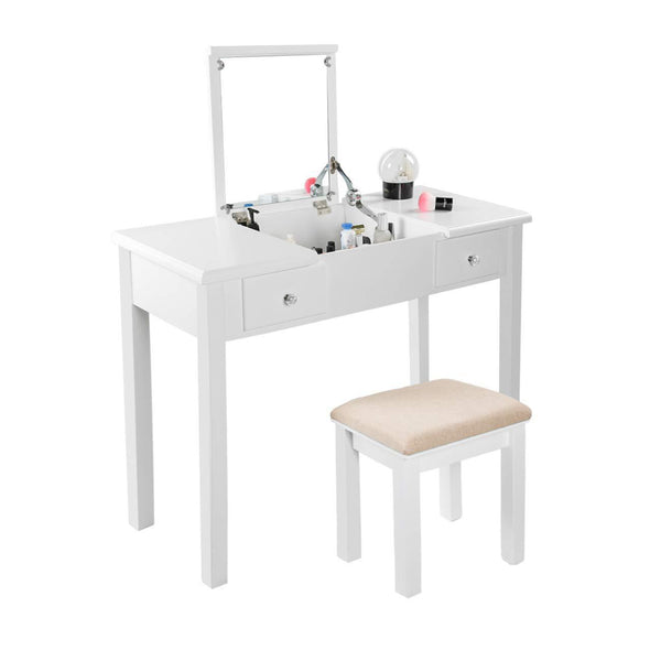 Amazon aodailihb vanity table with flip top mirror makeup dressing table writing desk with cushioning makeup stool set 2 drawers 3 removable organizers easy assembly white