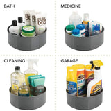 Amazon best mdesign deep plastic spinning lazy susan turntable storage container for desktop drawer closet rotating organizer for home office supplies erasers colored pencils 2 pack charcoal gray
