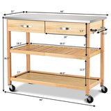 Purchase giantex kitchen trolley cart rolling island cart serving cart large storage with stainless steel countertop lockable wheels 2 drawers and shelf utility cart for home and restaurant solid pine wood