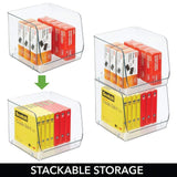 Try mdesign large stackable plastic home office storage organization bin basket with wide open front for cabinets closets drawers desks tables workspace cube 7 75 wide 4 pack clear