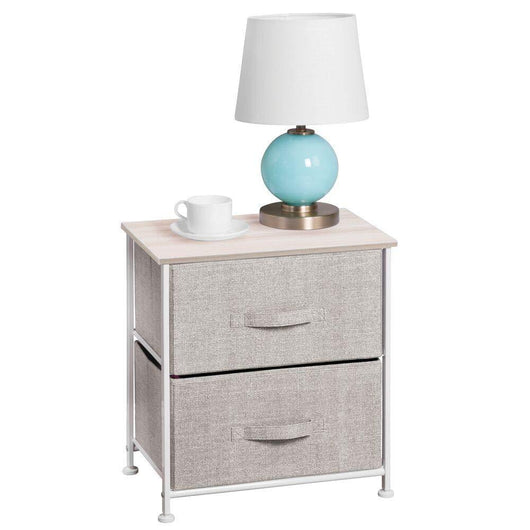 Kitchen mdesign end table night stand storage tower sturdy steel frame wood top easy pull fabric bins organizer unit for bedroom hallway entryway closets textured print 2 drawers linen natural