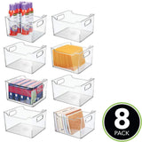Get mdesign deep plastic home office storage bin container desk and drawer organizer tote with handles for organizing gel pens erasers tape pencils highlighters markers 10 long 8 pack clear