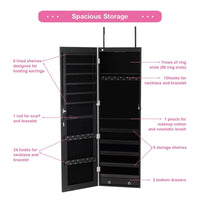 Products giantex wall door jewelry armoire cabinet with mirror 2 led lights auto on large storage wide mirrored 1 scarf rod 36 hooks 1 makeup pouch organizer for bedroom jewelry amoires w 2 drawers white