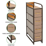 Home mdesign vertical narrow dresser storage tower sturdy steel frame wood top handles easy pull fabric bins organizer unit for bedroom hallway entryway closets 4 drawers coffee espresso