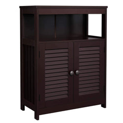VASAGLE Bathroom Storage Floor Cabinet, Free Standing Cabinet with Double Shutter Door and Adjustable Shelf, Brown UBBC40BR