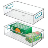 Results mdesign plastic stackable home office storage bin desk and drawer organizer tote with handles for storing gel pens erasers tape pens pencils highlighters markers 8 wide 2 pack clear blue