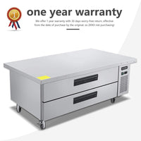 Shop commercial 2 drawer refrigerated chef base kitma 60 inches stainless steel chef base work table refrigerator kitchen equipment stand 33 f 38 f
