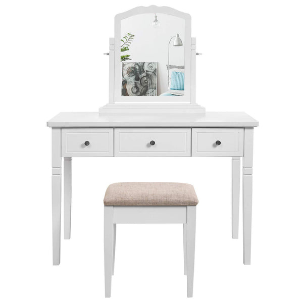 Discover the best vasagle vanity set with 3 big drawers dressing table with 1 stool makeup desk with large rotating mirror makeup and cosmetic storage multifunctional easy to assemble white urdt106wt