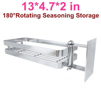 Ming Hong Tang 180° Rotatable Stainless Steel Kitchen Storage Collecter for Seasoning, No Drill to Install, Detachable to Wash