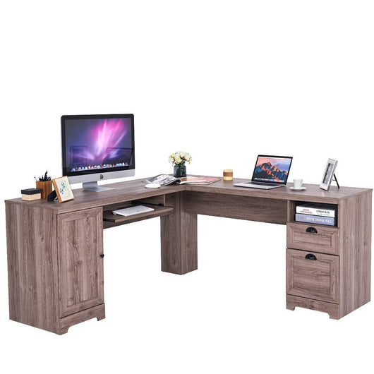Storage tangkula 66 66 l shaped desk corner computer desk with drawers and storage shelf home office desk sturdy and space saving writing table grey