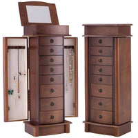 Great giantex jewelry armoire cabinet stand with 8 drawers top divided storage organizer with flip makeup mirror lid large side door chest cabinets antique wood standing armoires jewelry box w 8 hooks