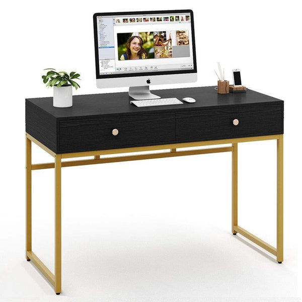 Shop for tribesigns computer desk modern simple home office gold desk study table writing desk workstation with 2 storage drawers makeup vanity console table 47 inch black