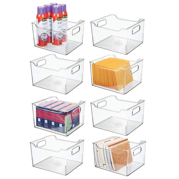 Discover mdesign deep plastic home office storage bin container desk and drawer organizer tote with handles for organizing gel pens erasers tape pencils highlighters markers 10 long 8 pack clear